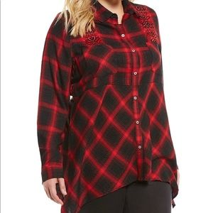 Westbound Women Red Plaid Embroidered Tunic Sz 3X
